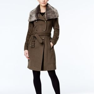 Vince Camuto Faux Fur Collar Double Breasted Coat